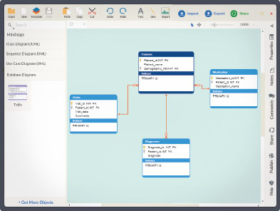 create database designs online for easy visualisationdatabase designs are used to present a detailed data model of a database and the various relationships between data  creately    s drag and drop interface and