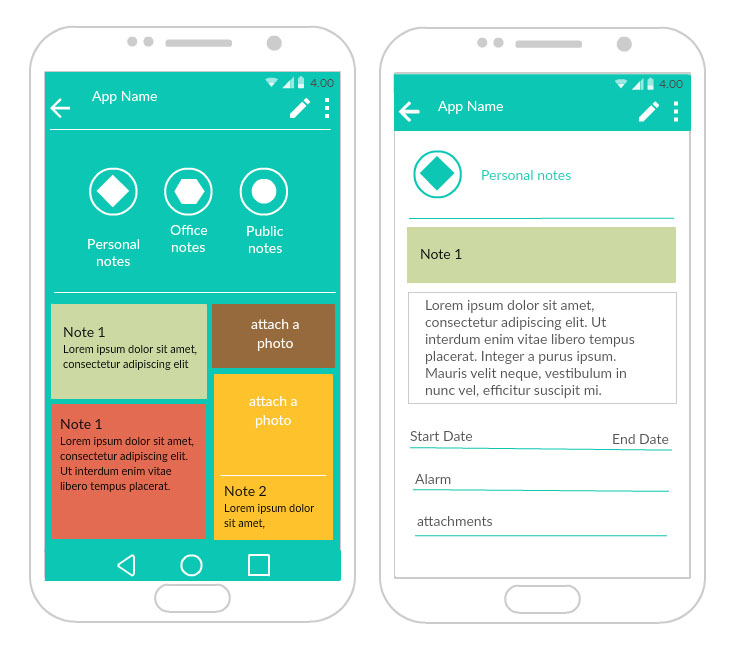 colorful android mockup - Wireframe Design Tool Online