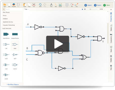 logic gate software   logic gate tool   create logic gates online    web based flowchart software