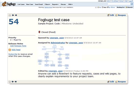 Creately diagram in Fogbugz case