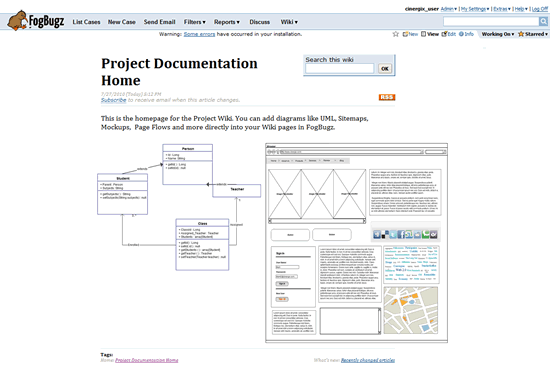 Creately diagrams on Fogbugz wiki pages