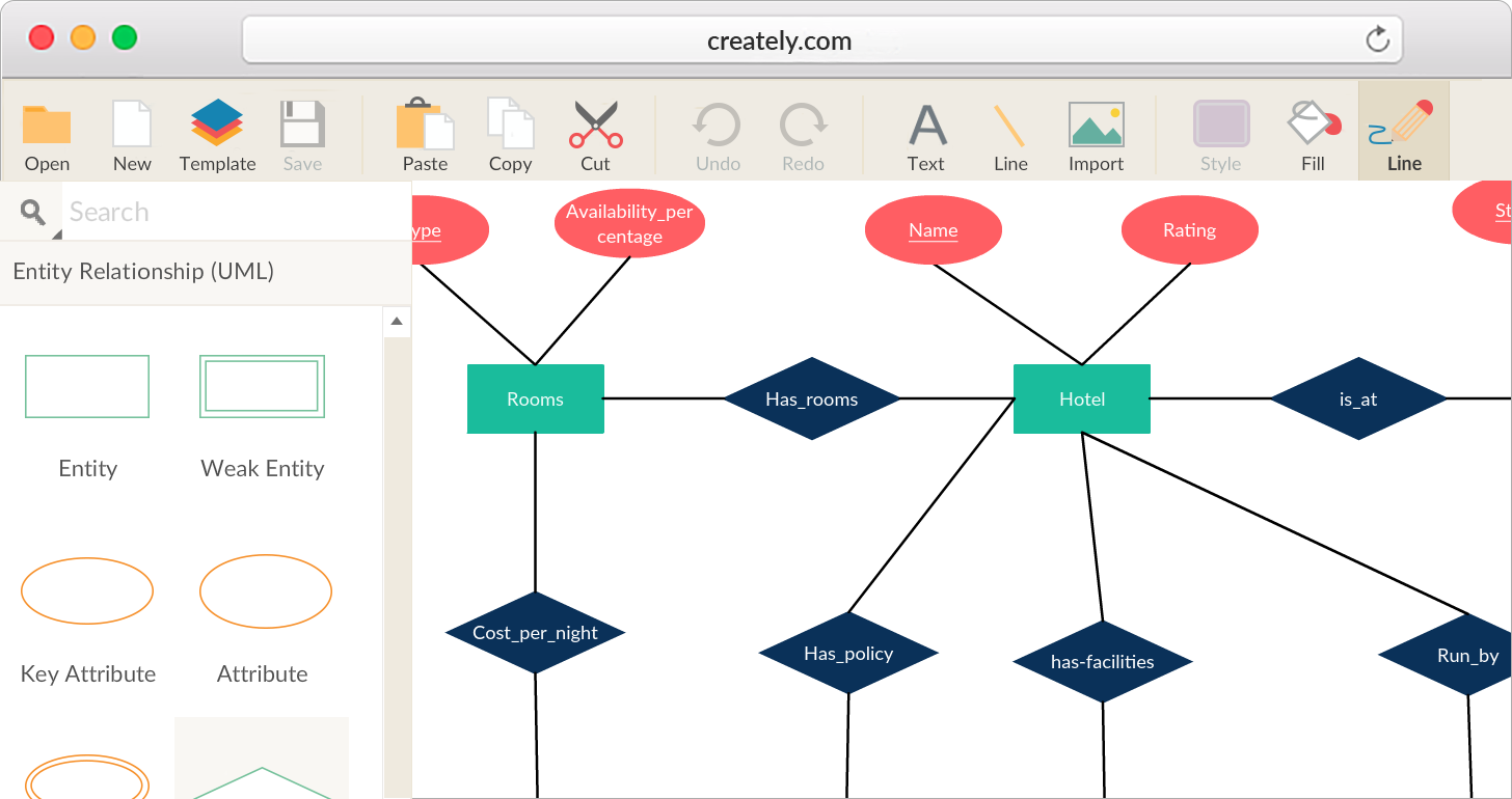 Er diagram tool with real time collaboration creately er diagram software to easily visualize your database elements ccuart Images