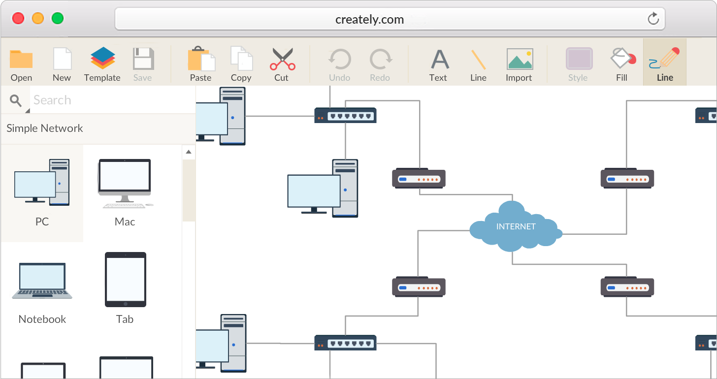 Network diagram software to quickly draw network diagrams online network diagram software with extensive network objects library ccuart Gallery