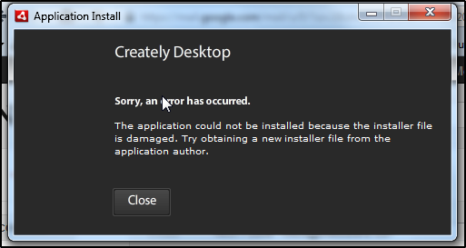 Creately Desktop Upgrade Error Message