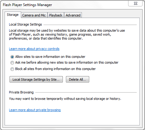 Adobe Flash Player Settings Manager window