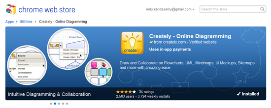 Creately, now featured in Google's Chrome web store!