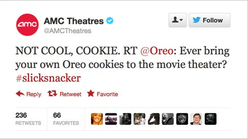 AMC reply to Oreo Tweet, Twitter again proving a social media site for engagments