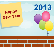 New Year greeting card with firewall