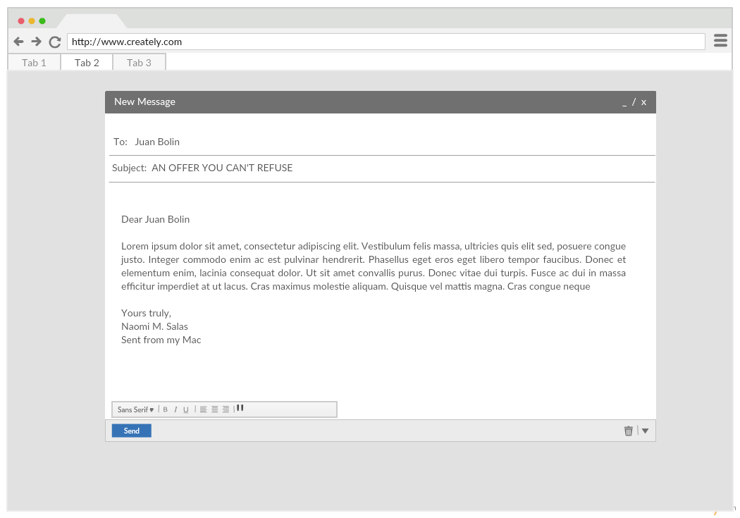 Mockup Template of Apple eMail Client - Compose Screen