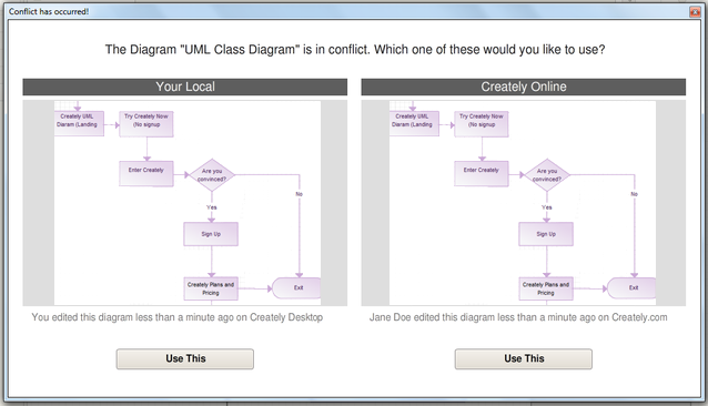 Diagrams Anywhere conflict window