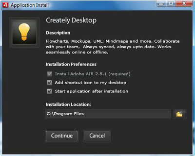 Creately Desktop Installation Preferences