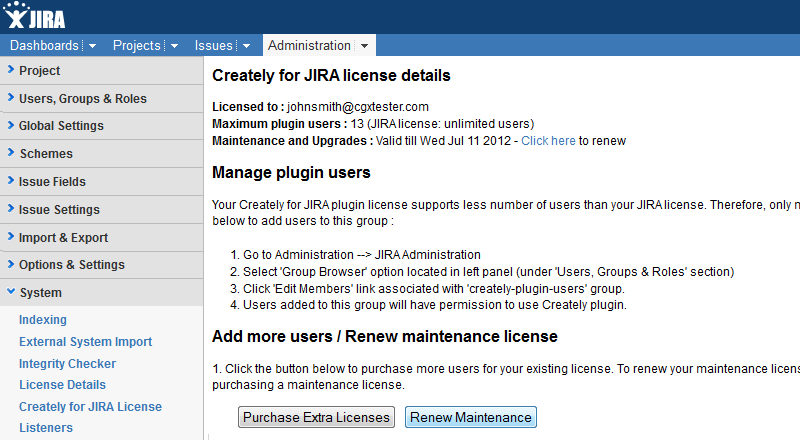 Extend Maintenance of your Creately for JIRA license