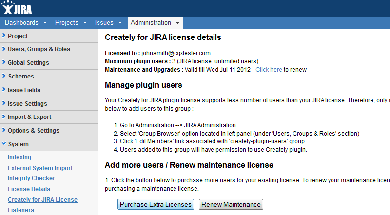 Purchase extra Creately for JIRA licenses