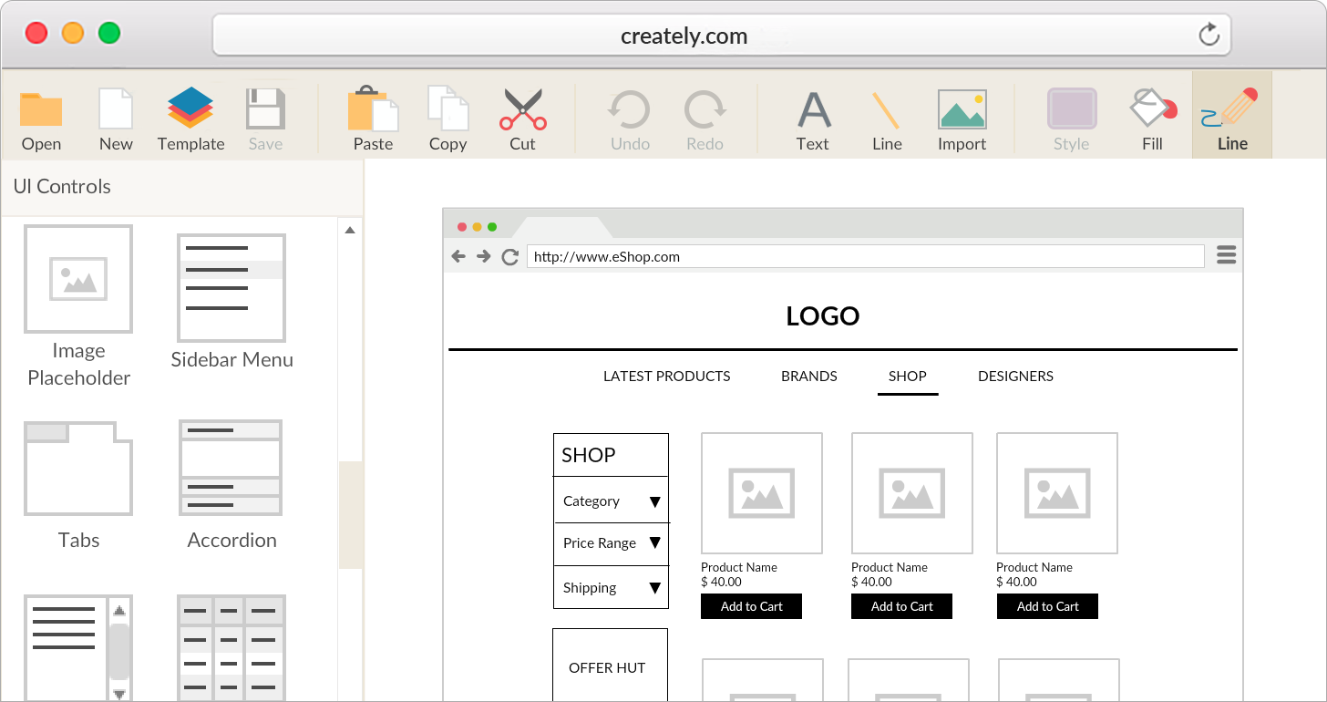 Online wireframe and ui mockup tool creately for Website planning tool