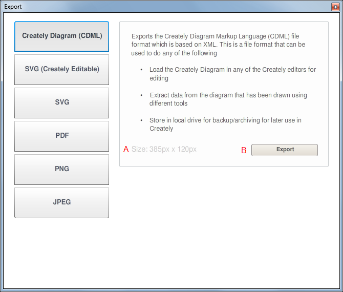 Creately Diagram (CDML) Export Dialog Window