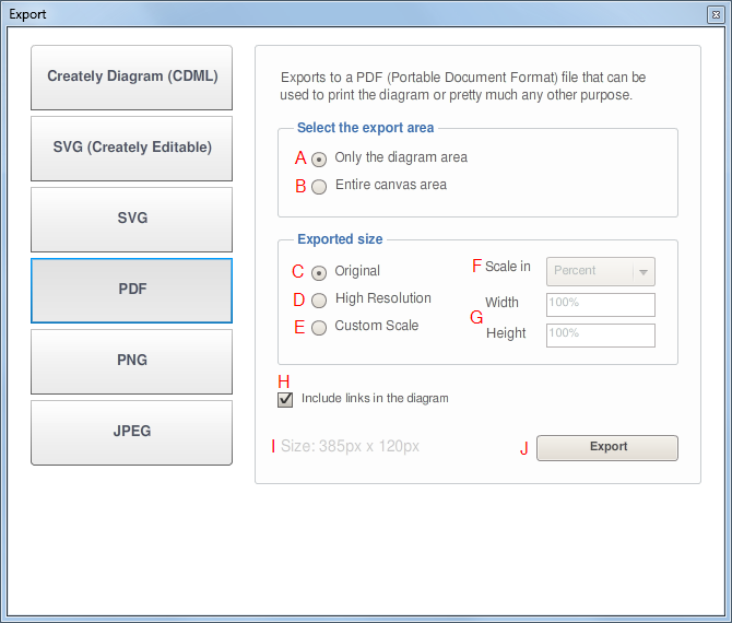 PDF Export Dialog Window