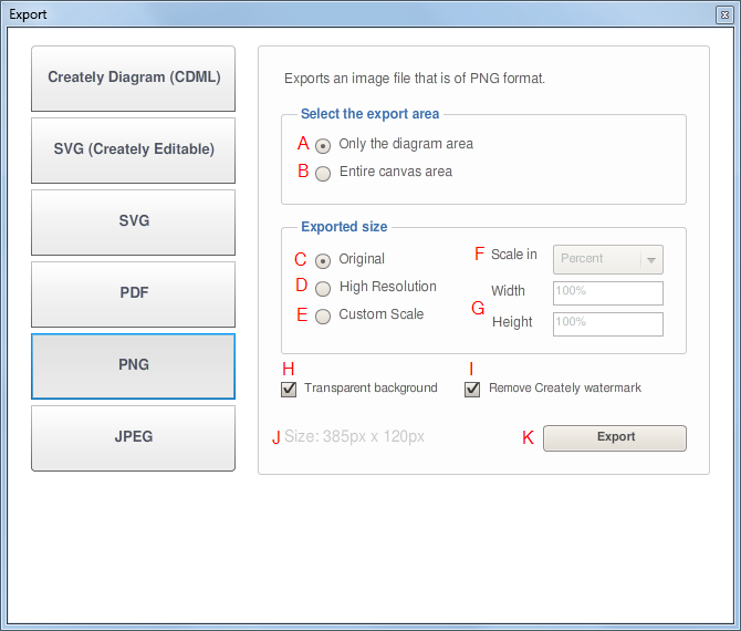 PNG Export Dialog Window